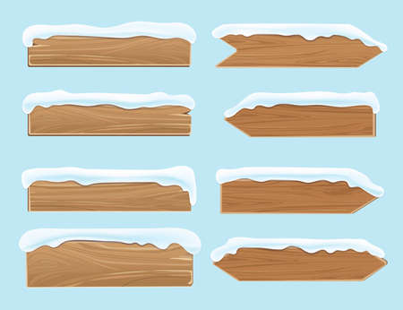 Illustration for Wood banners planks covered with snow. Festive christmas vector decoration isolated. Wood board for christmas snow-capped illustration - Royalty Free Image