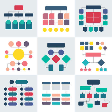 Illustration pour Flowchart schemes and hierarchy diagrams. Workflow chart vector elements. Chart structure hierarchy infographic illustration - image libre de droit
