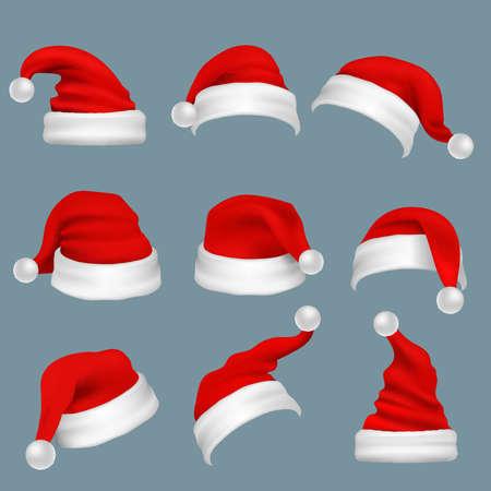 Illustration for Realistic christmas santa claus red hats isolated vector set. Santa claus cap to xmas holiday celebration illustration - Royalty Free Image