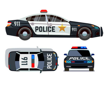 Photo pour Vector flat-style cars in different views. Police car security vehicle with siren illustration - image libre de droit