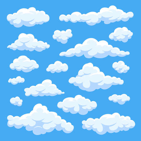 Illustration pour Fluffy white cartoon clouds in blue sky vector set. Cloudy day heaven. Cartoon cloudy fluffy illustration - image libre de droit