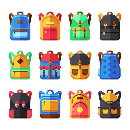 Illustration pour School backpacks vector set. Kids schoolbag flat collection. Backpack and schoolbag illustration - image libre de droit