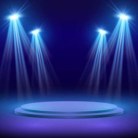 Illustration pour Concert stage with spot light lighting. Show performance vector background. Stage with spotlight for show illuminated illustration - image libre de droit