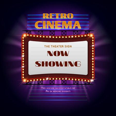 Illustration for Retro hollywood cinema 3d glowing light sign. Movie light display billboard vector illustration. Retro cinema billboard event - Royalty Free Image