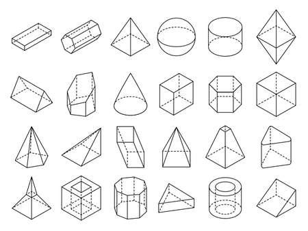 Photo pour Abstract isometric 3d geometric outline shapes vector set. 3d isometric geometric shape cube and sphere illustration - image libre de droit