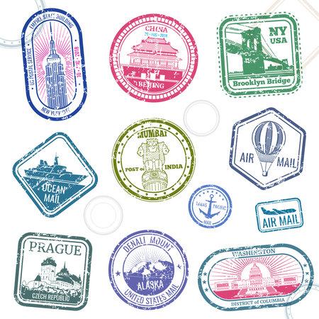 Illustration pour Vintage passport travel vector stamps with international symbols and famous trademark. Travel arrival stamp for passport, international national border illustration - image libre de droit