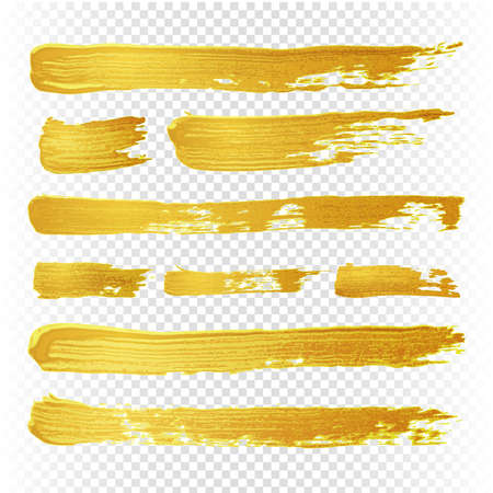Illustration for Gold yellow paint vector textured abstract brushes. Golden hand drawn brush strokes. Illustration of brush golden paint watercolor - Royalty Free Image