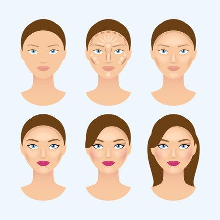 Illustration pour Stages of the makeup on the womans face. Beauty makeup girl portrait, vector illustration - image libre de droit