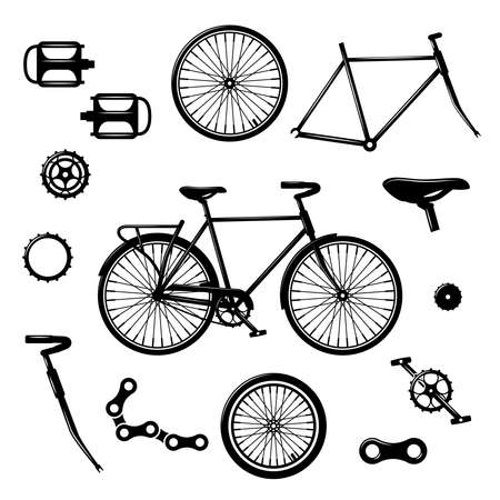 Illustration pour Bike parts. Bicycle equipment and components isolated vector set. Bicycle chain and pedal illustration - image libre de droit