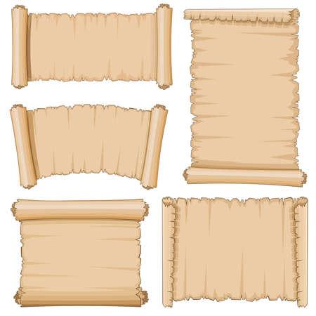 Illustration pour Blank cartoon old scrolls of papyrus paper vector set. Blank papyrus sheet, illustration of ancient parchment - image libre de droit