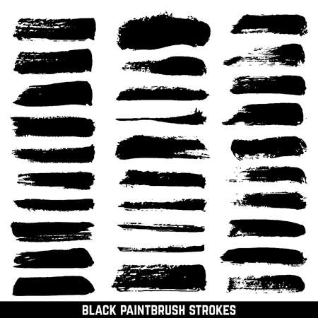 Illustration for Vector artistic ink paint blob brushes. Inked brushed strokes isolated. Dirty black brushstrokes collection. Illustration paintbrush drawing ink stroke - Royalty Free Image