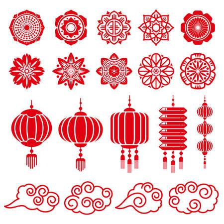 Illustration pour Traditional chinese and japanese decorative design vector elements. Japanese and chinese traditional decoration red lantern illustration - image libre de droit