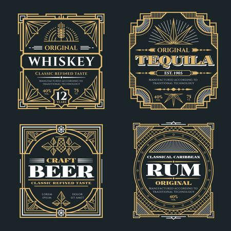 Illustration pour Vintage whiskey and alcoholic beverages vector labels in art deco retro style. Alcohol whiskey rum and tequila poster illustration - image libre de droit