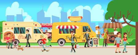 Illustration for Street food market. People walking city park, cartoon fast food trucks and tents. Man woman eating, skateboarding shopping drink coffee. Outdoor entertainment vector illustration - Royalty Free Image