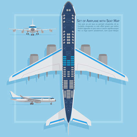 Illustration pour Aircraft seats plan top view. Business and economy classes airplane indoor information map. Vector illustration. Chart plane seat, plan, of aircraft passenger - image libre de droit
