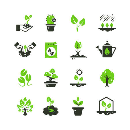 Illustration pour Tree sprout and plants vector icons. Seedling and hand planting pictograms. Seedling and growth tree, gardening and growing illustration - image libre de droit