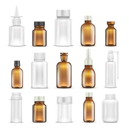 Ilustración de Medicine glass and plastic blank bottles isolated vector set. Bottle medicine container for care health, healthcare vitamin pharmaceutical illustration - Imagen libre de derechos
