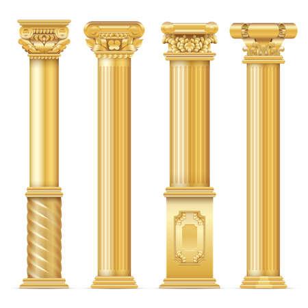 Illustration pour Classic antique gold columns vector set. Illustration of architecture column, architectural classic pillar - image libre de droit