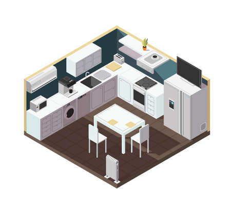 Illustration for Isometric 3d kitchen interior with household appliance, equipment and furniture vector illustration. Kitchen and stove, household isometric equipment for cooking - Royalty Free Image