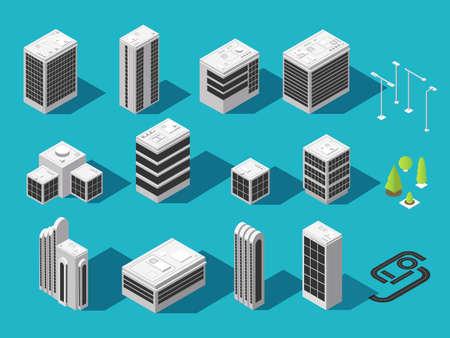 Photo pour Isometric building for 3d city map vector set. Isometric city house and architecture building illustration - image libre de droit