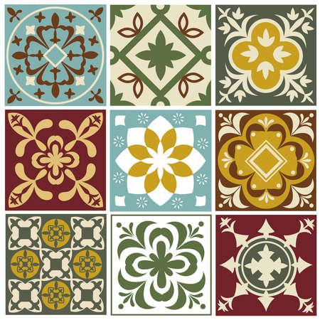Illustration for Portuguese tiling vector patterns. Old mediterranean tile prints. Ceramic square arabesque pattern color, mediterranean vintage decor and patchwork illustration - Royalty Free Image