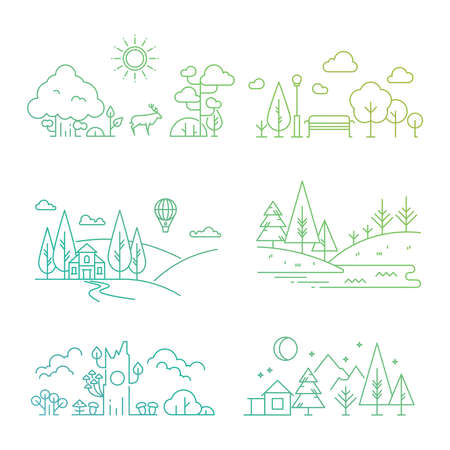 Illustration for Bright nature landscape outline icons with tree, plants, mountains, river. Vector illustration - Royalty Free Image