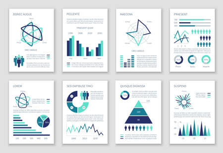 Illustration pour Multipurpose marketing vector infographics with charts, option graphs and people demographic icons. Presentation graph and infographic, multipurpose template chart information illustration - image libre de droit