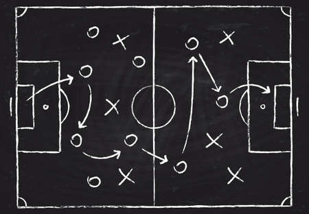 Illustration pour Soccer game tactical scheme with football players and strategy arrows. Vector chalk graphic on black board - image libre de droit