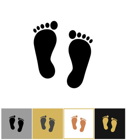 Illustration for Human black silhouette foot print icon, footprints symbol isolated on gold, black and white backgrounds vector illustration - Royalty Free Image