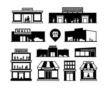 Photo pour Shopping mall buildings icons. Store exteriors with people pictograms. Shop houses with shoppers vector. Monochrome building shop, store and market, supermarket exterior, retail storefronts - image libre de droit