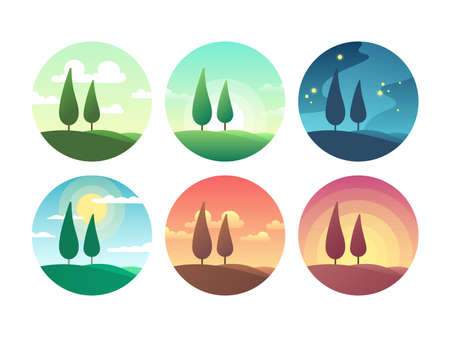 Illustration pour Beautiful summer landscape at different times of day. Sunrise morning, sunny day, sunset evening and starry night vector icons. Sunrise and sunburst, sunshine lighting morning coolection of icons - image libre de droit