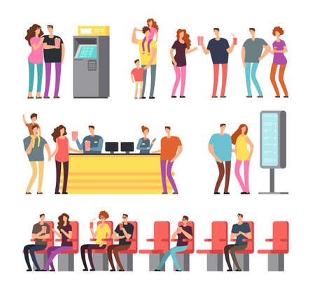 Illustration pour Happy young couples in 3d movie theater. Cartoon people vector characters set isolated. Cinema movie with viewer character illustration - image libre de droit