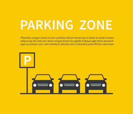 Illustration for Parking zone sign with car black silhouette icons. City parking lot vector concept. Carpark banner, place area for car illustration - Royalty Free Image