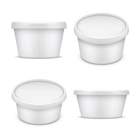 Illustration pour Rounded container. White plastic packaging. Buttermilk and margarine box isolated on white background vector illustration. Plastic packaging and jar mockup for food - image libre de droit