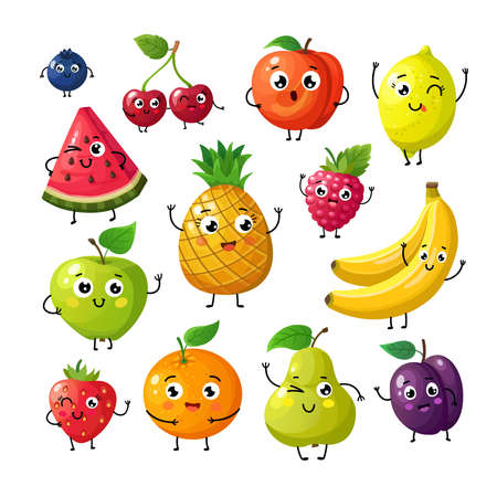 Illustration pour Cartoon funny fruits. Happy kiwi banana raspberry orange cherry with face. Summer fruit and berry vector characters isolated on white. Fruit kiwi and banana, orange and strawberry illustration - image libre de droit
