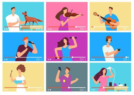 Illustration pour Video tutorials. People bloggers on video screen. Social media marketing. Tuber vector characters set. Tutorial blogger, blog online, web vlog illustration - image libre de droit