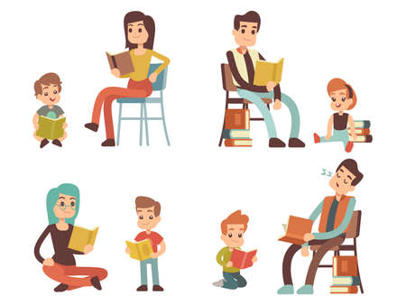 Illustration pour Cartoon character adults and kids reading books isolated on white background. Vector illustration - image libre de droit
