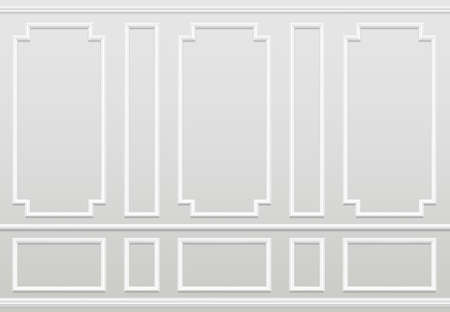 Illustration pour Empty white wall. Moulding panels classic home decoration. Living room vector interior. Illustration of wall plaster panel, architecture interior - image libre de droit