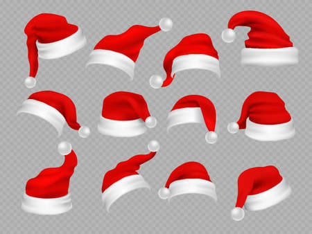 Illustration for Big set of realistic Santa Hats isolated on transparent background. Vector santa claus hat colllection, holiday cap to xmas illustration - Royalty Free Image