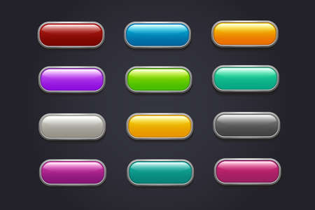 Illustration pour Game buttons. Glossy cartoon video game button vector collection. Interface game buttons menu, glossy app illustration - image libre de droit