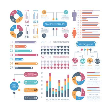 Illustration pour Infographic graphs. Business chart process info-chart diagram option flowchart with people icons. Vector financial infographics elements. Illustration of flowchart process, graph and diagram - image libre de droit