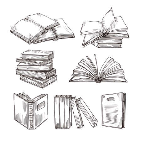 Illustration pour Sketch books. Ink drawing vintage open book and books pile. School education and library doodle vector symbols. Education book sketch, pile of literature drawing illustration - image libre de droit