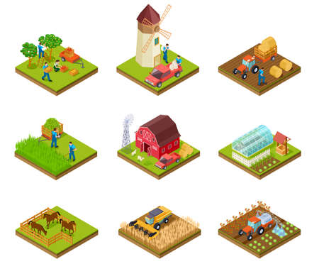 Illustration pour Isometric farm. Farmer tractor lorry and harvester. Livestock and agricultural green plants. 3d farmland vector set. Illustration of farm isometric, farmer 3d with barn and tractor - image libre de droit