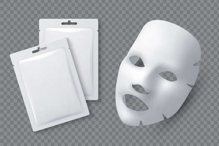 Illustration pour Facial cosmetic mask. Moisturizing cotton sheet for woman beauty. White face cleansing mask and package realistic 3d vector mockup. Cosmetic mask for facial skin female illustration - image libre de droit