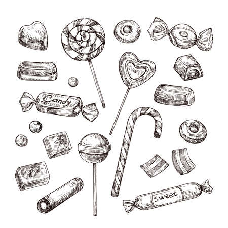 Illustration pour Hand drawn candies. Chocolate candy, lollipop and marmalade, sweets. Vintage sketch vector set of lollipop and candy, chocolate dessert and marmalade illustration - image libre de droit