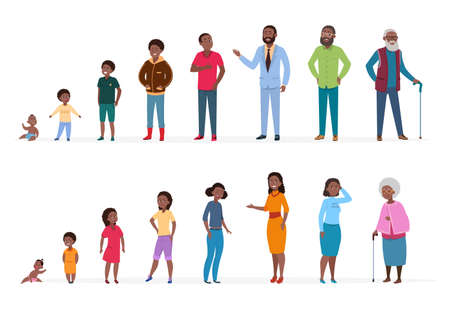 Illustration pour African people of different ages. Man woman baby kids teenagers, young adult elderly persons. African family vector characters. Illustration people process woman and man, growing generation - image libre de droit