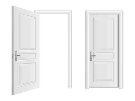 Illustration pour Open and closed white entrance realistic door isolated on white background. Door to house or room, enter doorway closed illustration - image libre de droit