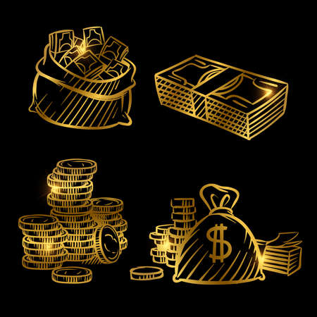 Illustration for Sketch of money. Golden vector coins and money isolated on black background. Illustration of money golden sketch, gold cash coin - Royalty Free Image