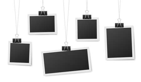Illustration pour Frames hang on clips. Photo frame hanging, photos clothespin and rope. Retro blank templates for photography, memory image recent vector concept. Illustration empty frame photo, picture template - image libre de droit