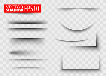 Paper sheet shadow effect. Transparent realistic paper shadow effect set. White blank paper cuts circle oval square rectangle with shadow and transparent effects realistic set vector illustration